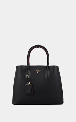 Prada Women's Large Leather Double Tote Bag - Black
