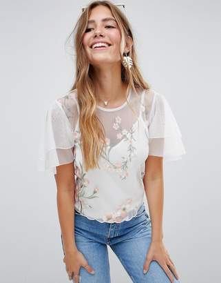 Asos Design DESIGN angel sleeve embroidered mesh top with cami