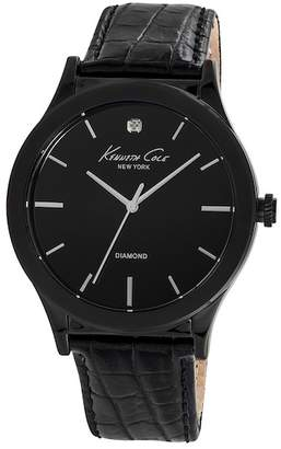Kenneth Cole New York Men's 3 Hand Leather Strap Watch, 44mm