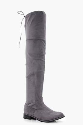 boohoo Flat Tie Back Thigh High Boots