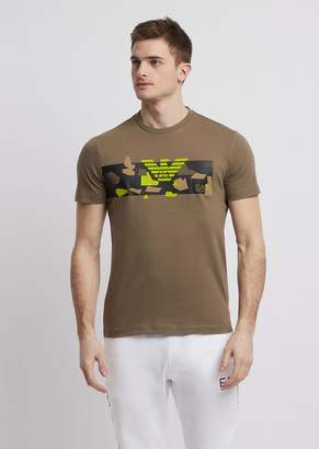 Emporio Armani Ea7 Pure Cotton T-Shirt With Camo Logo