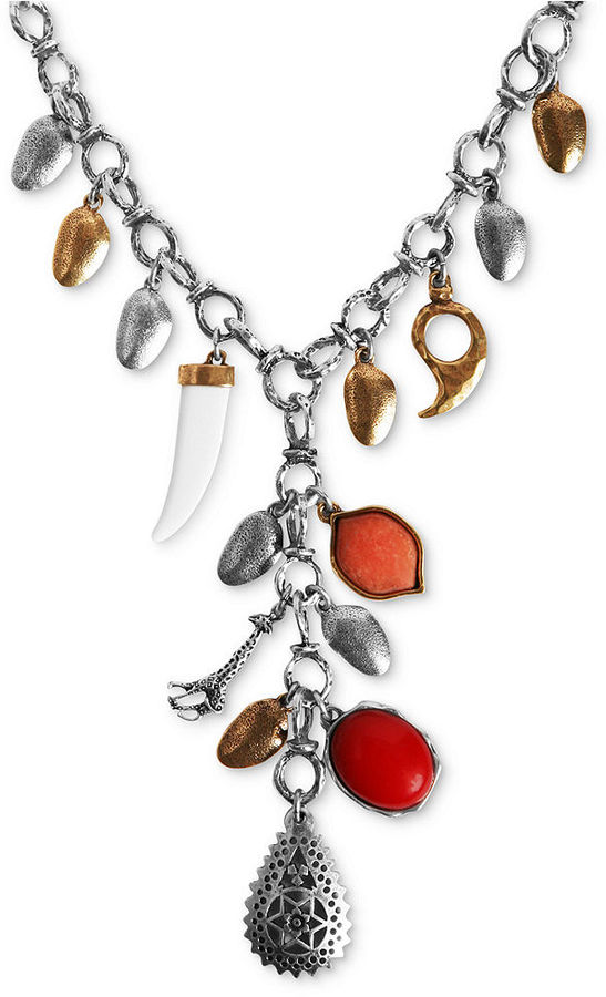Lucky Brand Necklace, Silver-Tone and Gold-Tone Charm Necklace