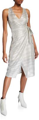 Line And Dot Metallic-Chiffon Overlay Sheath Dress