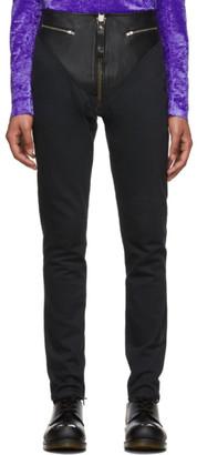 Sankuanz Black Leather Skinny Trousers