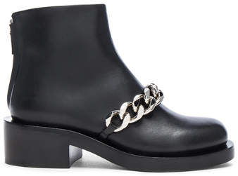 Givenchy Leather Laura Silver Chain Ankle Boots