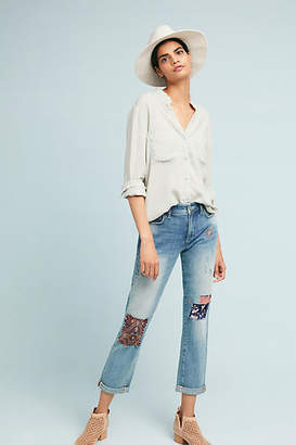 Pilcro and the Letterpress Pilcro Patched Mid-Rise Slim Boyfriend Jeans