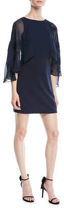 Halston Cape-Sleeve Mini Dress w/ Floral Embroidery