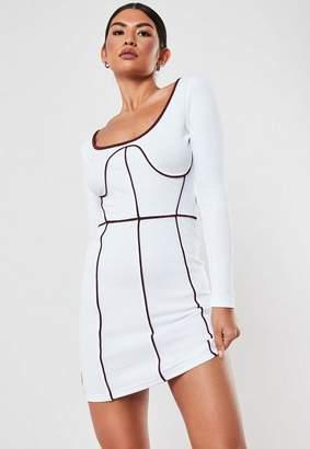 Missguided White Contrast Seam Scoop Neck Mini Dress