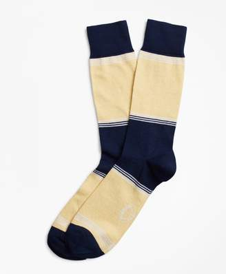 Brooks Brothers Striped Color-Block Crew Socks