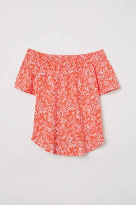 H&M Off-the-shoulder Top - Coral/patterned - Women