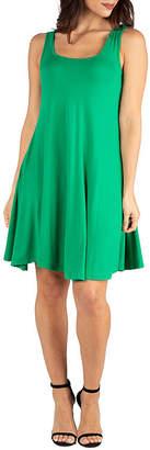 24/7 Comfort Apparel 24/7 Comfort Dresses Fit and Flare Knee Length Tank Dress