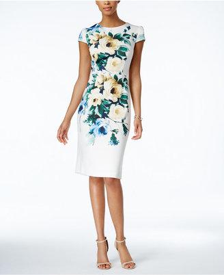 Betsey Johnson Printed Scuba Midi Sheath Dress $138 thestylecure.com