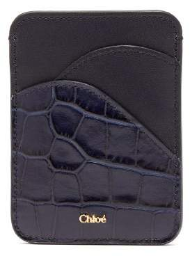 Chloé Walden Crocodile Embossed Leather Cardholder - Womens - Navy