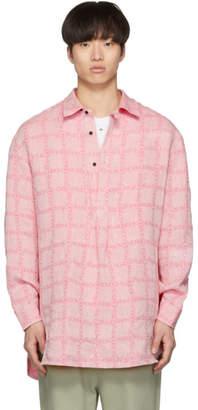 J.W.Anderson Pink Linen Grid Tunic Shirt