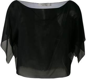 D-Exterior D.Exterior sheer cropped blouse