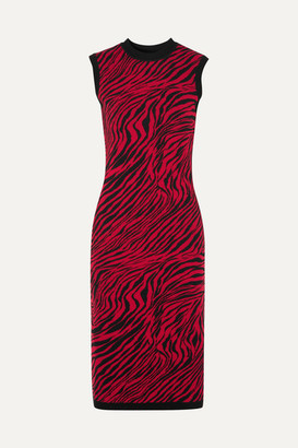 McQ Zebra-print Cotton Midi Dress - Red