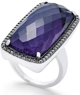 Paul & Pitu Naturally Silver-Tone Pave & Purple Stone Ring