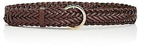 MAISON BOINET Women's Braided Leather Belt-Brown