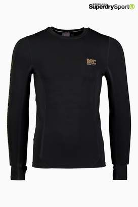 Next Mens Superdry Sport Black Performance Compression Long Sleeve Top