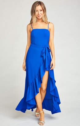 Show Me Your Mumu Rocco Romper Maxi Dress ~ Royal Blue Pebble