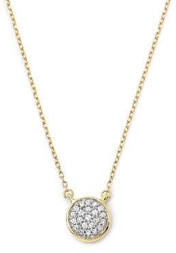 Adina 14K Yellow Gold Pavé Diamond Disc Necklace, 15""