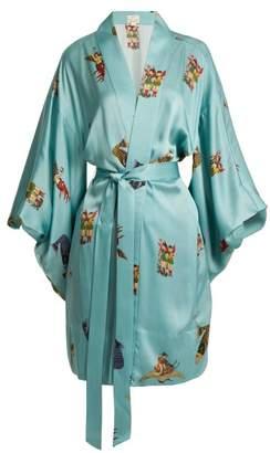 Chufy - Komodin Silk Kimono Jacket - Womens - Blue Multi