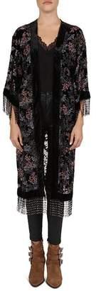 The Kooples Floral Velvet Beaded Fringe Kimono