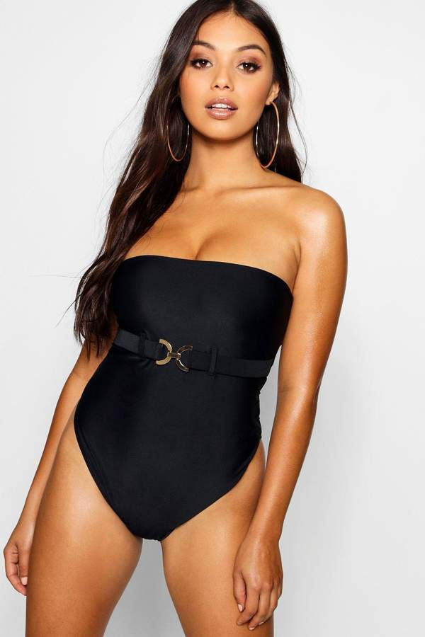 boohoo Petite Bandeau Waist Detail Swimsuit