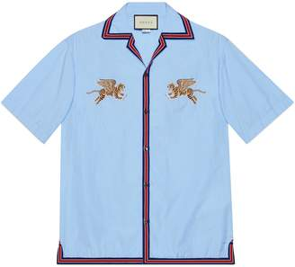 Gucci Tiger fil coupé bowling shirt