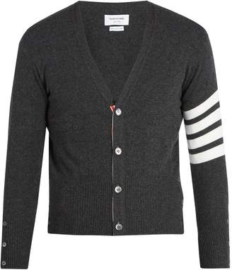 Thom Browne V-neck striped-sleeve cashmere cardigan
