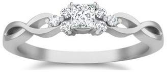 JeenJewels 0.63 Carat Discount Engagement Ring with Princess cut Diamond on 10K White gold