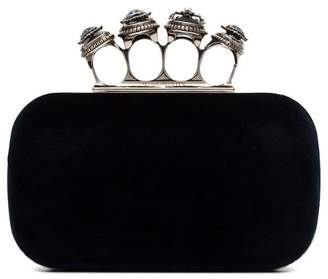 Alexander McQueen blue four ring clutch bag