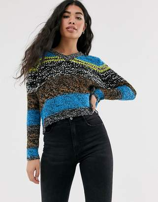 Noisy May textured colourblock knitted jumper