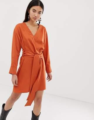 Weekday wrap front dress in dark orange