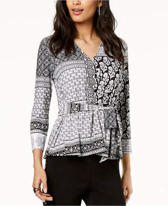 INC International Concepts I.n.c. Petite Tie-Front Peplum Top, Created for Macy's
