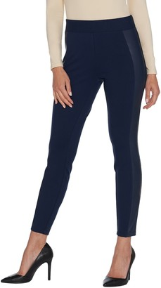 Halston H By H by Petite Ponte Leggings with Faux Leather Details