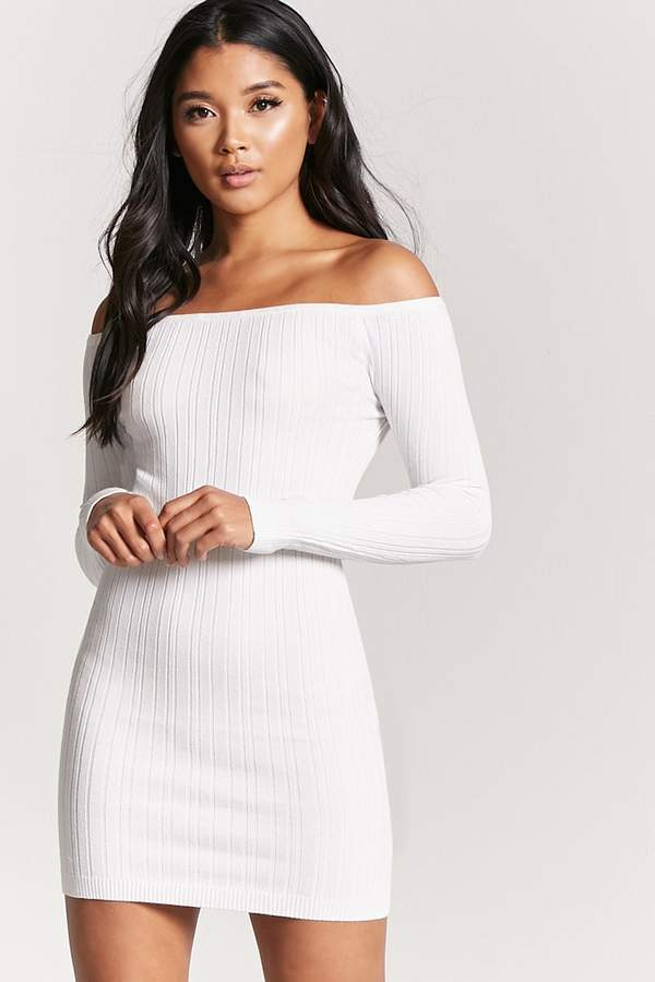 FOREVER 21 Ribbed Off-the-Shoulder Mini Dress