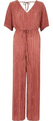 River Island Petite pink plisse V neck jumpsuit