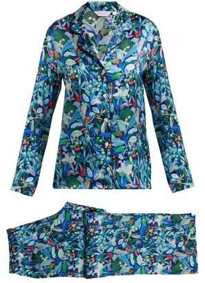 Derek Rose Brindisi 34 Silk Pyjama Set - Womens - Navy Multi
