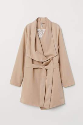 H&M Coat with Draped Lapels - Beige