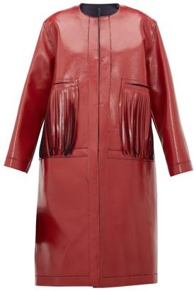 Sara Lanzi Fringed Coated Wool Blend Coat - Womens - Red