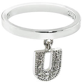 Silver 'U' Charm Ring
