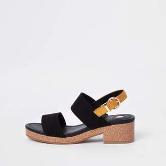 River Island Womens Black two part cork heel sandals
