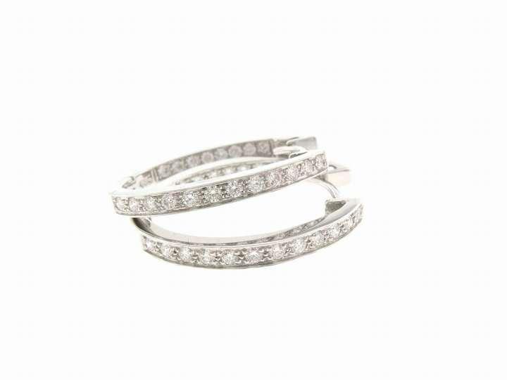 A.Link Oval Diamond Hoops