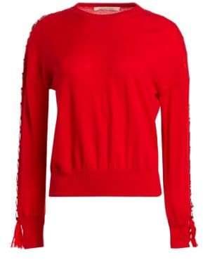 Jonathan Simkhai Tassel Open Sleeve Wool Sweater