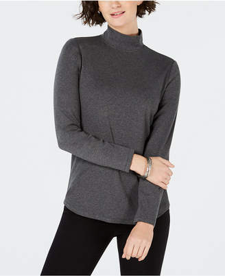 Charter Club Cotton Mock-Neck Top