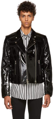 Balmain Black Varnished Leather Jacket