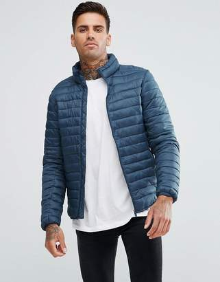 Pull&Bear Quilted Jacket In Navy