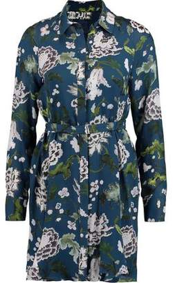 ADAM by Adam Lippes Belted Floral-Print Silk Mini Shirt Dress
