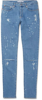 Givenchy Slim-Fit Distressed Stretch-Denim Jeans